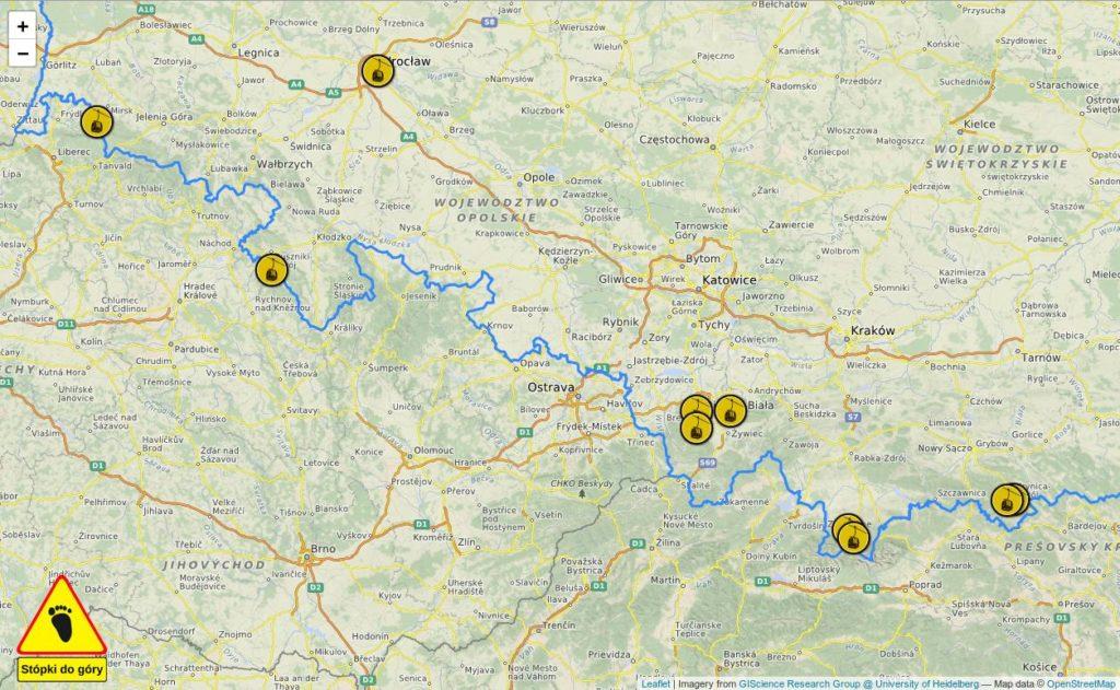 Zrzut ekranu mapy – wyciągi kolei linowych