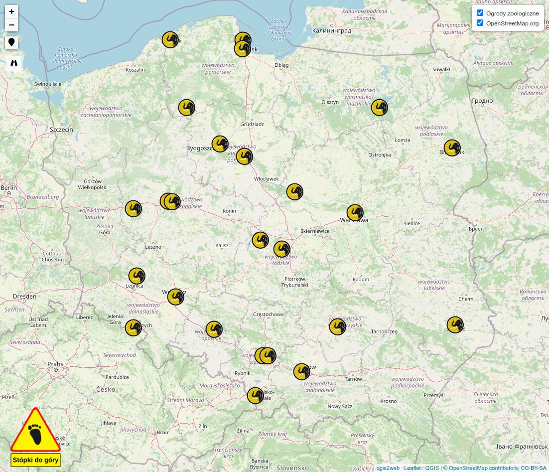 Miniatura mapy ogrodów zoologicznych w Polsce